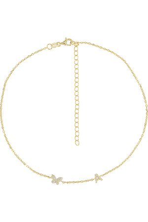 Adina's Jewels Pave Butterfly Initial Choker in Metallic . - size D (also in F, G, H, I, J, P)