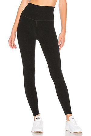 Beyond Yoga Mulher Calça Legging - Spacedye High Waisted Midi Legging in Black. - size L (also in M, S, XS)