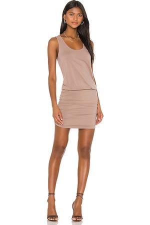 Bobi Draped Modal Jersey Mini Dress in Tan. - size M (also in XS)