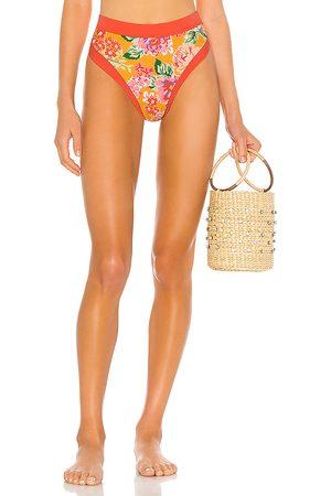 Lovers + Friends Little Me High Waist Bikini Bottom in Orange. - size L (also in M, S, XL, XS, XXS)