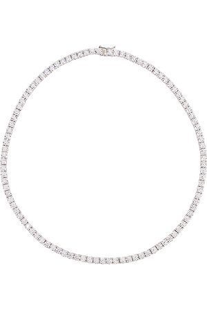 The M Jewelers Full Iced Out Necklace in Metallic Silver.