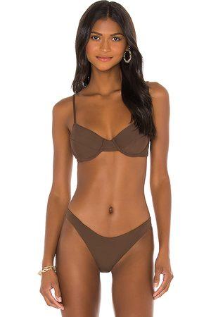 Riot Swim Jax Bikini Top in Brown. - size S (also in XS)
