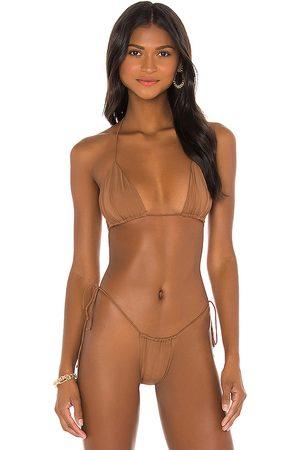 Riot Swim Bixi Bikini Top in Brown. - size M (also in S)