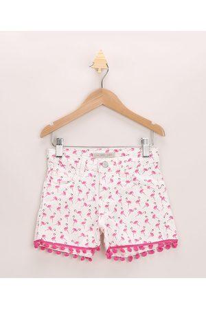 PALOMINO Menina Bermuda - Short Infantil de Sarja de Flamingos com Bolsos e Pompom Off White