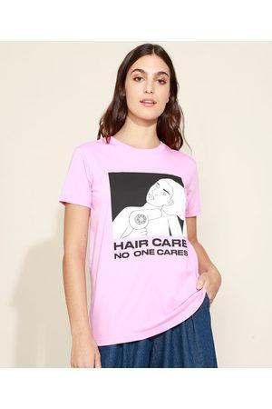 "Mindse7 Mulher Camiseta - T-Shirt Feminina Mindset Hair Care"" Manga Curta Decote Redondo """