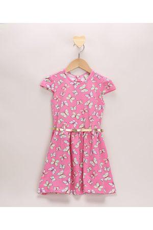 PALOMINO Vestido Infantil Borboletas com Recorte Manga Curta e Cinto Rosa