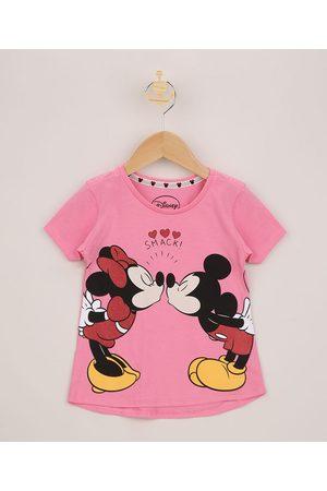 Disney Blusa Infantil Minnie e Mickey Manga Curta