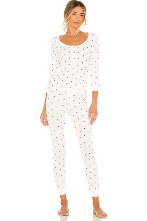 Plush Thermal Heart PJ & Scrunchie Set in White. - size L (also in M, S, XS)
