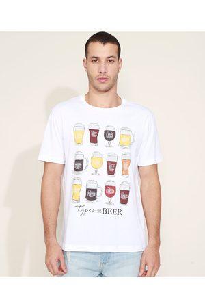 ANGELO LITRICO Camiseta Masculina Types Of Beer Manga Curta Gola Careca Branca