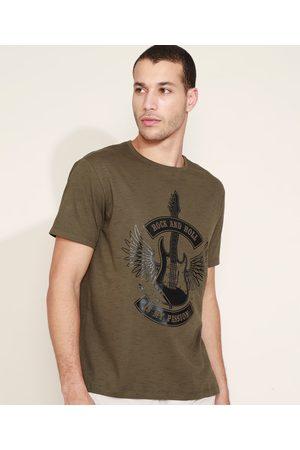 "Clockhouse Camiseta Masculina Rock And Roll"" Manga Curta Gola Careca """