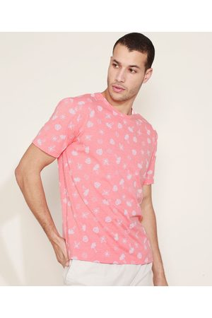 Clockhouse Homem Manga Curta - Camiseta Masculina Estampada Manga Curta Gola Careca Coral