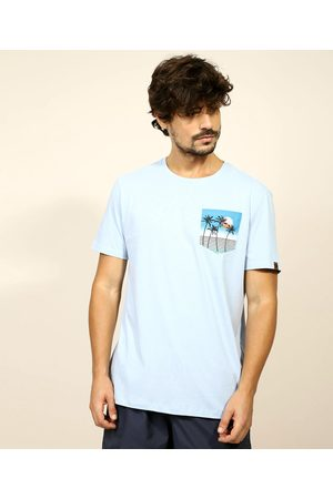 Suncoast Camiseta Masculina com Bolso Estampado Manga Curta Gola Careca Claro