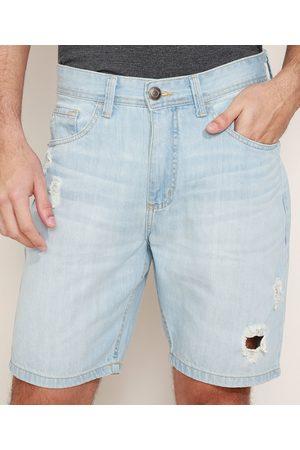 ANGELO LITRICO Bermuda Jeans Masculina Slim Destroyed Claro