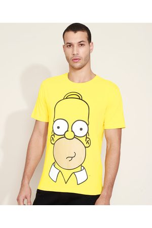 Os Simpsons Camiseta Masculina Homer Simpson Manga Curta Gola Careca Amarela
