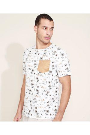 Clockhouse Camiseta Masculina Estampada de Ilha com Bolso Manga Curta Gola Careca Branca