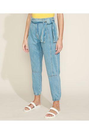 YESSICA Calça Jeans Feminina Jogger Cintura Média com Faixa para Amarrar Claro