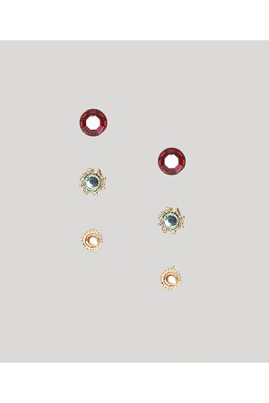C&A Kit de 3 Brincos Femininos Redondos com Pedra Zircônia