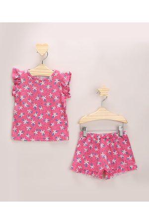 BABY CLUB Conjunto Infantil Estampada Floral de Blusa com Babados Manga Curta + Short Rosa