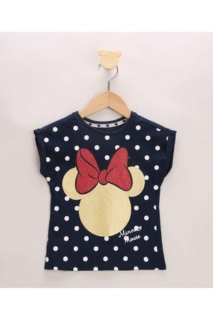 Disney Blusa Infantil Minnie com Poá Manga Curta Decote Redondo