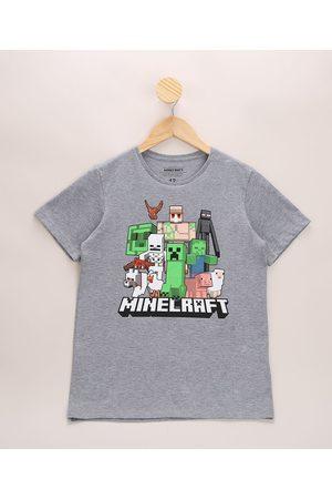 Minecraft Camiseta Infantil Manga Curta Gola Careca Mescla