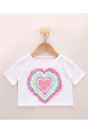 PALOMINO Blusa Infantil Cropped Coração com Paetê Manga Curta Decote Redondo Off White