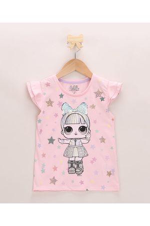 LOL Surprise Blusa Infantil com Babado e Paetê Manga Curta Decote Redondo