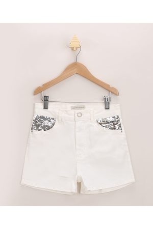 Fifteen Short Jeans Juvenil com Paetês no Bolso Off White