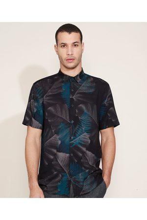 AL Contemporâneo Camisa Masculina Slim Estampada de Folhagens Manga Curta Preta