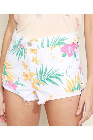 Clockhouse Short de Sarja Feminino Cintura Média Floral com Barra Desfiada Branco