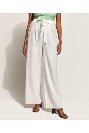 Clockhouse Calça Feminina Pantalona Cintura Super Alta Alfaiatada com Faixa para Amarrar Off White