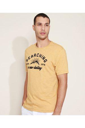 "ANGELO LITRICO Camiseta Masculina Searching"" Manga Curta Gola Careca Amarela"""