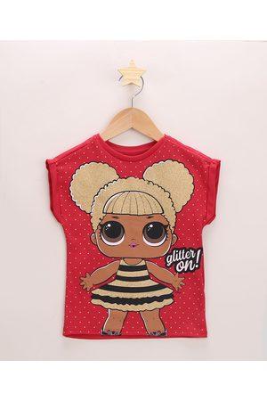 LOL Surprise Blusa Infantil Queen B com Brilho Manga Curta Decote Redondo Vermelha
