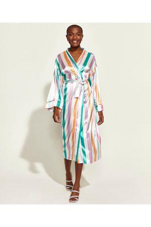 Mindse7 Kimono Feminino Mindset Obvious Longo Acetinado Listrado com Faixa para Amarrar Off White
