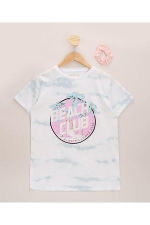 "Fifteen Menina Manga Curta - Blusa Juvenil Beach Club"" Estampada Tie Dye Manga Curta + Elástico de Cabelo Scrunchie Off White"""