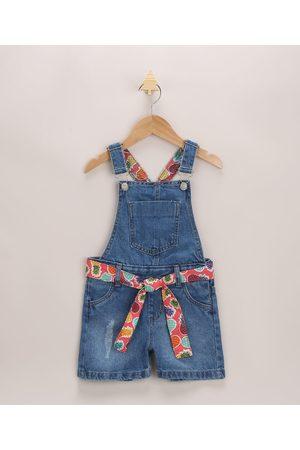PALOMINO Menina Jardineira - Jardineira Jeans Infantil com Faixa para Amarrar Médio