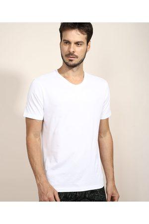 Basics Camiseta Masculina Básica Manga Curta Gola V Branca