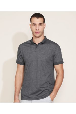 Basics Homem Camisa Pólo - Polo Masculina com Bordado Manga Curta Mescla Escuro