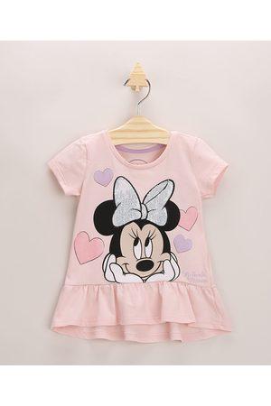 Disney Blusa Infantil Minnie Mouse com Paetê Manga Curta