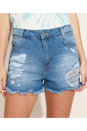 SAWARY Short Jeans Feminino Cintura Média Destroyed Médio