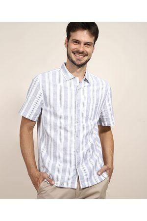 ANGELO LITRICO Camisa Masculina Relaxed Listrada com Linho e Bolso Manga Curta Branca