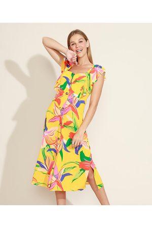 Yessica Vestido Feminino Midi Floral com Fenda Alça Larga com Babados Decote Reto Amarelo