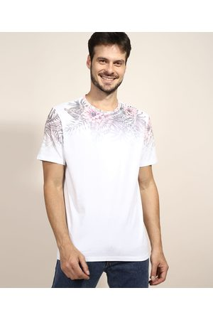 Clockhouse Camiseta Masculina Floral Degradê Manga Curta Gola Careca Branca