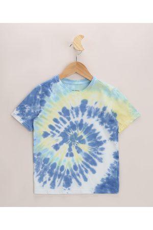 PALOMINO Camiseta Infantil Estampada Tie Dye Espiral Manga Curta Azul