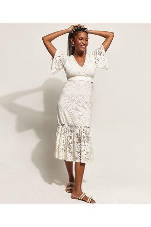 Clockhouse Mulher Vestido Médio - Vestido Feminino Midi Devorê Folhagem com Vazado e Babado Manga Curta Ampla Off White