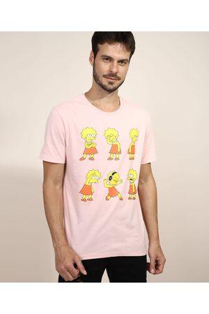 Os Simpsons Camiseta Masculina Lisa Simpson Manga Curta Gola Careca Rosê