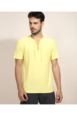 Suncoast Homem Manga Curta - Camiseta Masculina com Amarração Manga Curta Gola V Amarela