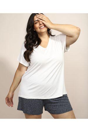 Design Íntimo Pijama Feminino Plus Size com Estampa de Poá Manga Curta Azul Marinho