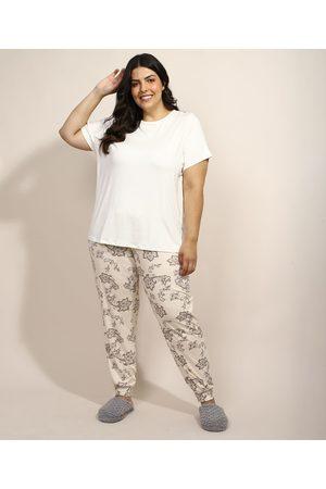 Design Íntimo Pijama Feminino Plus Size com Estampa Paisley Manga Curta Bege Claro