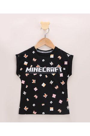 Minecraft Menina Manga Curta - Blusa Infantil Estampada Manga Curta Preta
