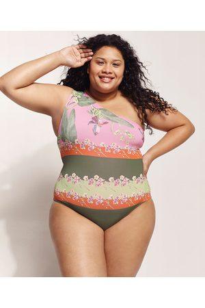 Emi Beachwear Maiô Plus Size Bananeiras Um Ombro Só com Proteção UV50+ Biodegradável Rosa